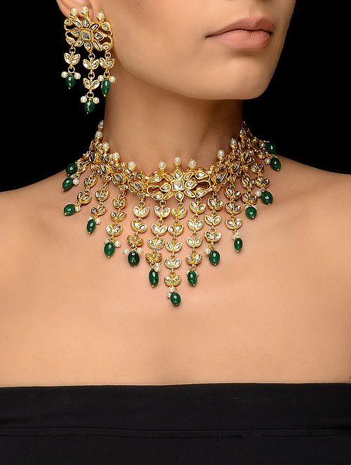 Green Kundan-inspired Gold Tone Necklace with a Pair of Earrings (Set of 2)