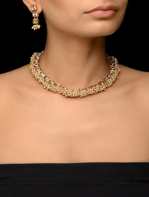 Pearl Kundan-inspired Gold Tone Necklace with a Pair of Earrings (Set of 2)