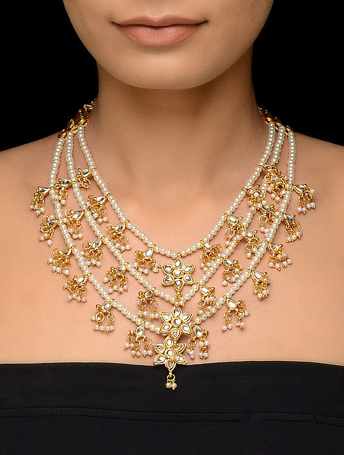 Classic Kundan-inspired Gold Tone Necklace