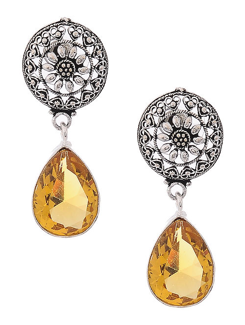 Yellow Earrings with Floral Motif