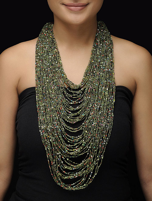 Green-Multicolor Beaded Necklace