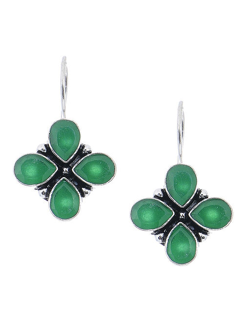 Green Earrings with Floral Design