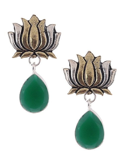 Green Dual Tone Earrings with Lotus Design