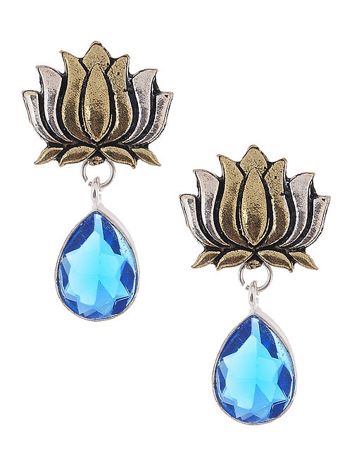 Blue Dual Tone Earrings with Lotus Design