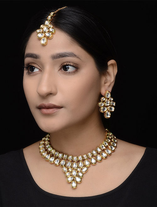 Kundan Inspired Necklace with a Pair of Earrings and Mangtika (Set of 3)