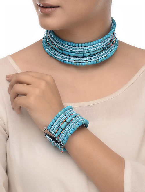 Blue-Multicolored Wood Beaded Necklace with Bangle (Set of 2)
