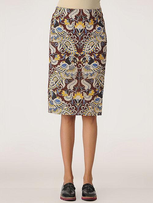 Maroon Kalamkari Cotton Skirt with Side Slit