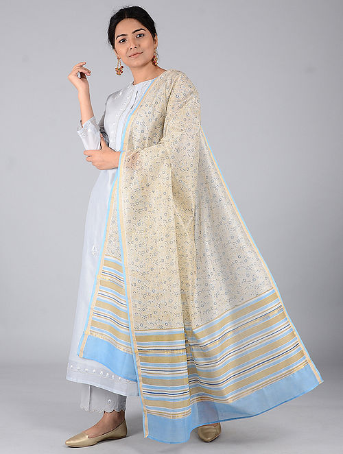 Ivory-Turquoise Block-printed Chanderi Dupatta with Zari