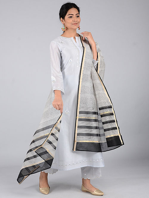Ivory-Black Block-printed Chanderi Dupatta with Zari