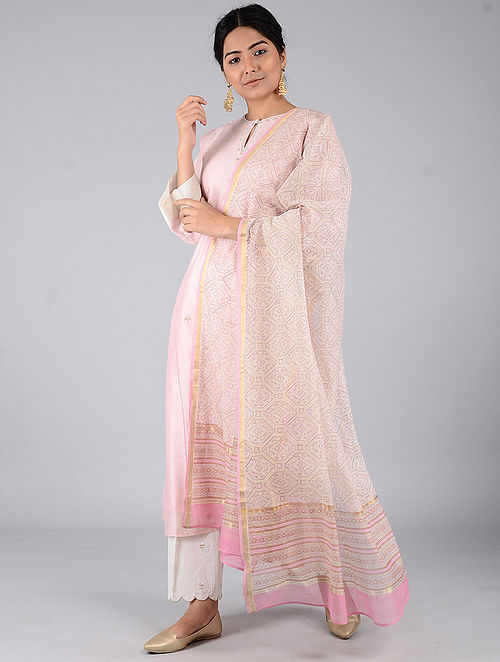 Pink-Ivory Block-printed Chanderi Dupatta with Zari