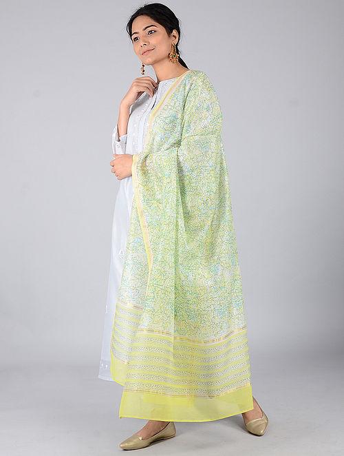 Lemon-Turquoise Block-printed Chanderi Dupatta with Zari