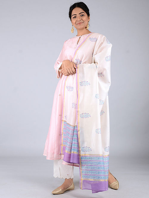 Ivory-Purple Block-printed Chanderi Dupatta with Zari