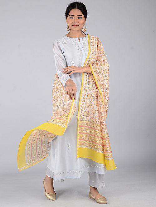 Ivory-Yellow Block-printed Chanderi Dupatta with Zari