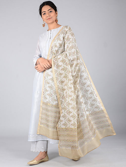 Ivory-Beige Block-printed Chanderi Dupatta with Zari