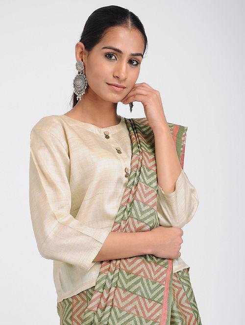 6f14a27fc9f18 Buy Beige Tussar Silk Blouse Online at Jaypore.com