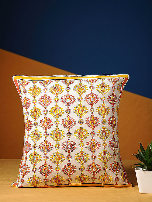 Off White Handblock Printed Cotton Cushion Cover (15.5in X 15.5in)