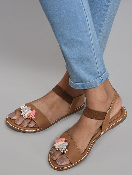 Tan Multicolored Handcrafted Sandals