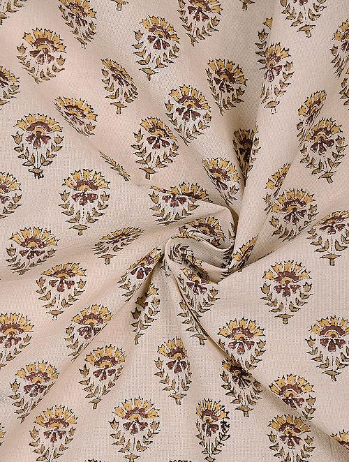 Beige-Yellow Block-printed Cotton Fabric