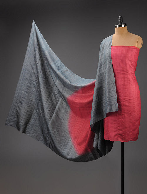 Red-Grey Tussar Silk Suit Fabric with Bindu Dupatta - Set of 2