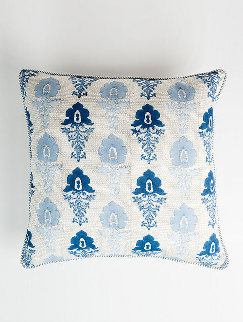 Fluer White and Blue Handblock Printed Cotton Cushion Cover (20in x 20in)