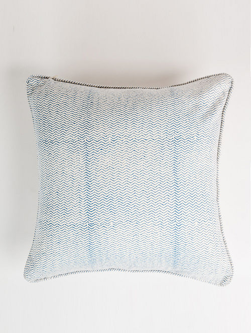 Chevron White and Blue Handblock Printed Cotton Cushion Cover (16in x 16in)