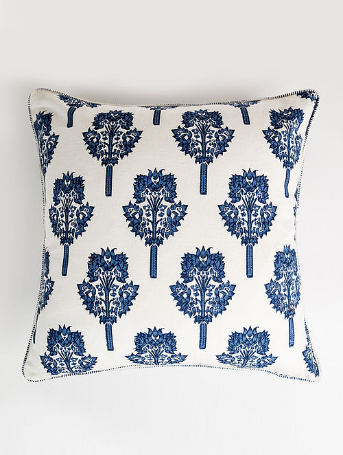 Tamra White and Blue Handblock Printed Cotton Cushion Cover (20in x 20in)