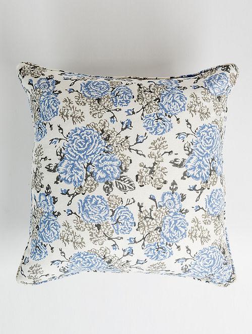 Azura White-Multicolor Handblock Printed Cotton Cushion Cover (16in x 16in)