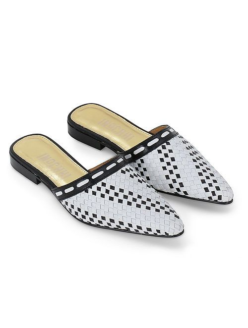 Black White Handcrafted Genuine Leather Mules