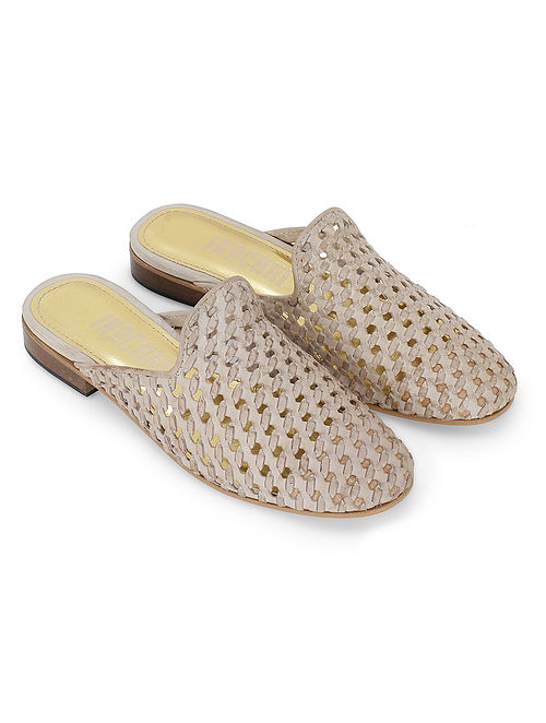 Beige Pink Handcrafted Genuine Leather Mules