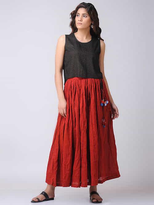 Black Bagru-printed Cotton Top