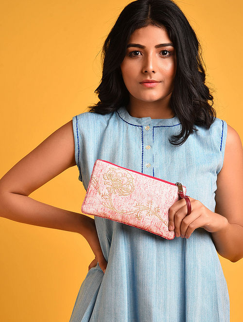 White Orange Hand Embroidered Khadi Pouch