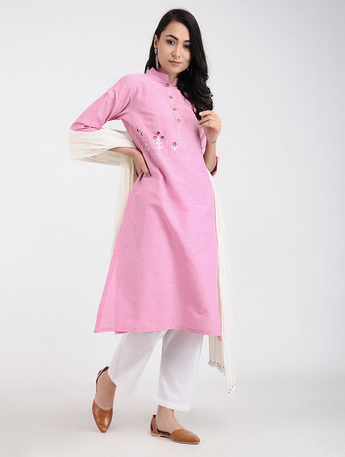 5e1deaa6c3 Buy Pink Khadi Cotton Kurta with Mirror Work Online at Jaypore.com