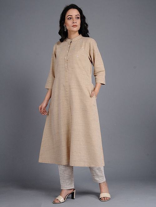 8a1014a03d6 Buy Beige Khadi Cotton Kurta with Pearl Buttons Online at Jaypore.com