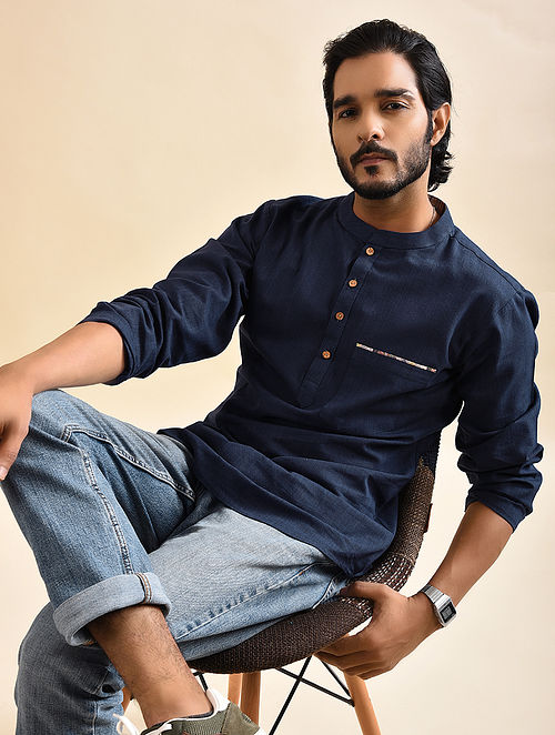 Blue Khadi Cotton Short Kurta