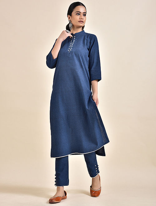 Navy Blue Embroidered Khadi Kurta