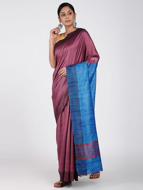 6a9ac33554d238 Buy Maroon-Blue Ghicha Silk Saree Online at Jaypore.com