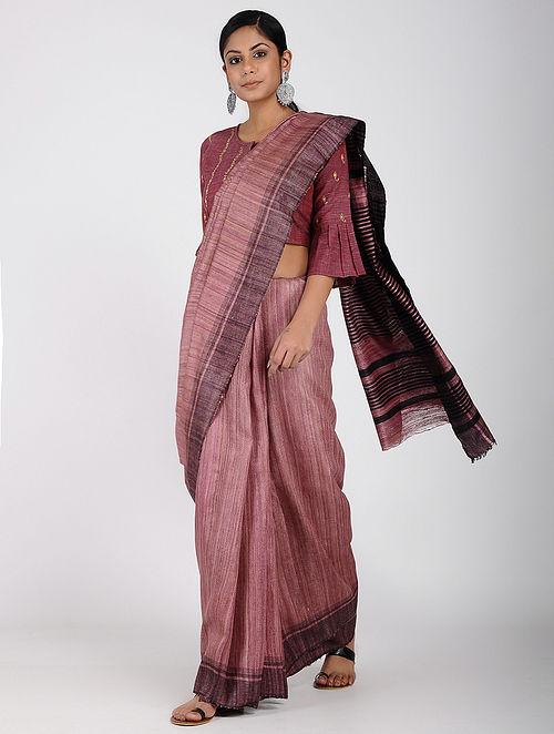 e98d283c1f749c Buy Pink-Black Ghicha Silk Saree Online at Jaypore.com