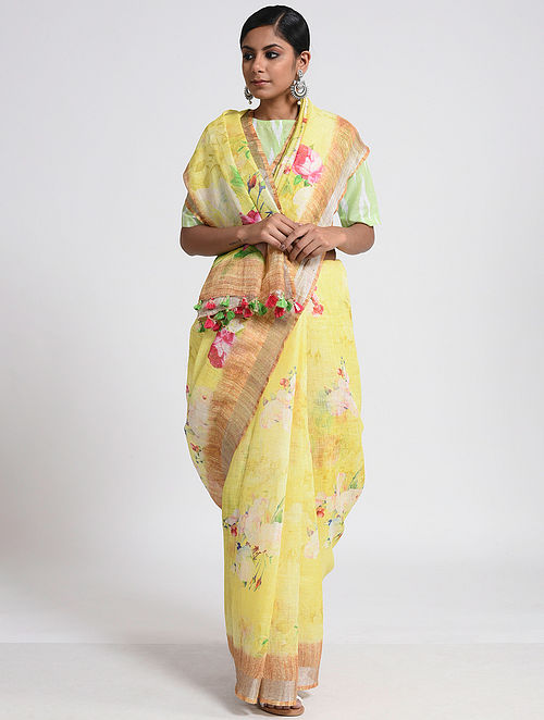Buy Yellow-Ivory Printed Linen Saree With Tassels Online