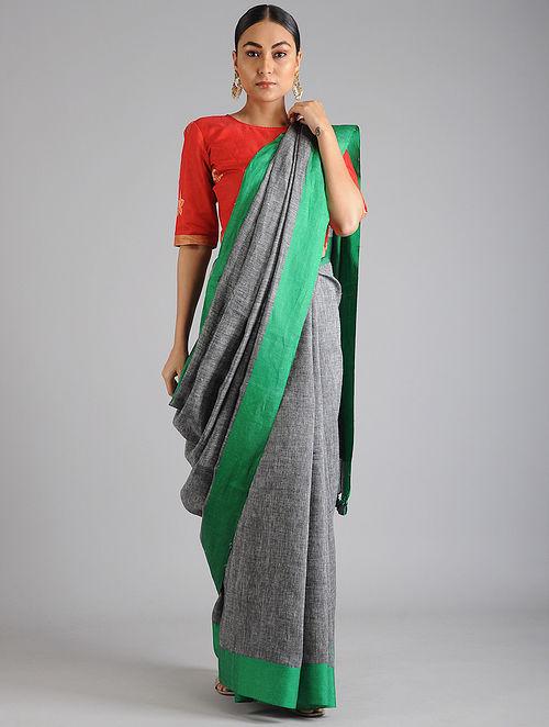 Grey-Green Linen Cotton Saree