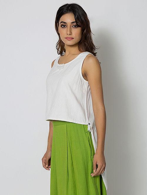 White Asymmetrical Cotton Linen Crop Top
