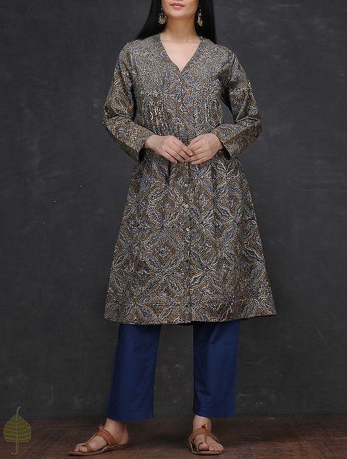 Grey-Blue Ajrakh-printed Button-down Cotton Kurta by Jaypore