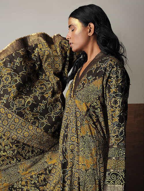 Mustard-Brown Ajrakh Cotton Kalidar Kurta with Sequin and Zari Detail by Jaypore