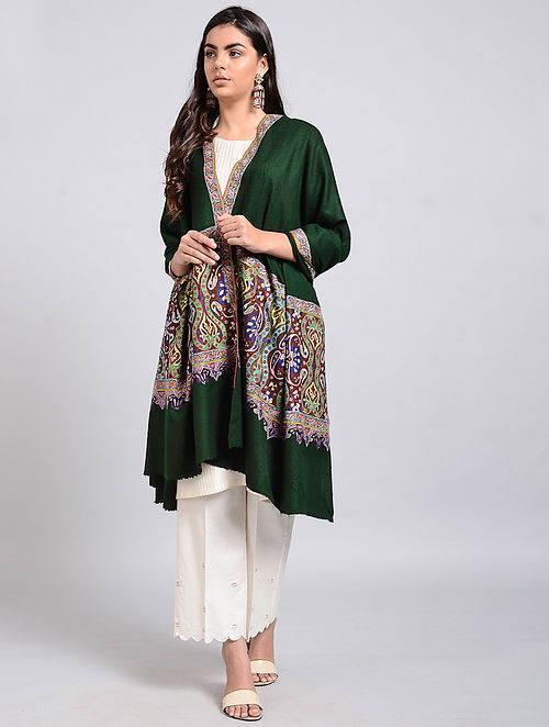 Green Pashmina Embroidered Shawl