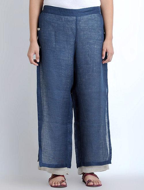 Navy-Beige Layered Elasticated Waist Linen Pants