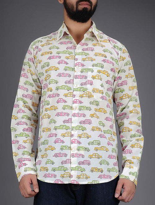 White-Multi-Color Car Hand-Block Printed Full Sleeves Cotton Shirt