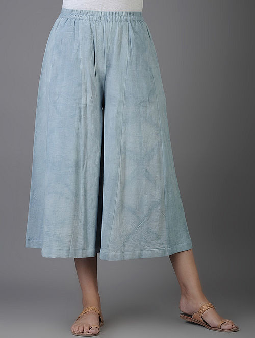 Blue Shibori-dyed Elasticated Waist Cotton Twill Culottes