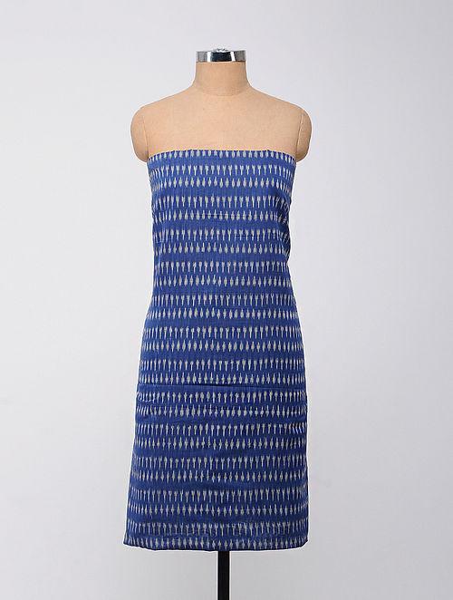 Blue-Ivory Ikat Cotton Kurta Fabric