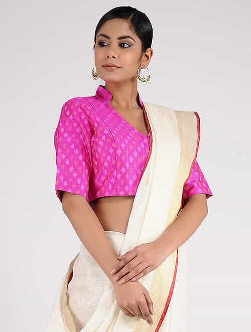 Pink Handloom Silk-Cotton Ikat Blouse