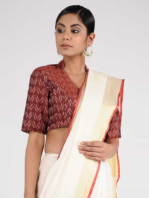 Brown Handloom Silk-Cotton Ikat Blouse