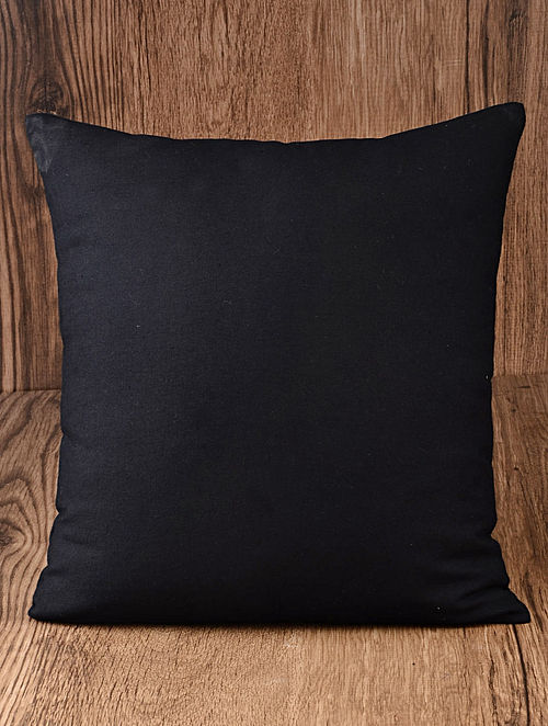 Black Solid Cotton Cushion Cover 16in x 16in